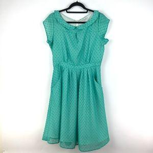 Shabby Apple Sz 12 Green Swiss Dot Dress Modest